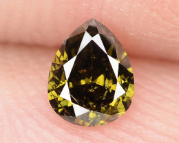 0.17 Cts Untreated Natural Fancy Deep Greenish Brown Color Loose Diamond