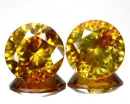 ~RARE~ 21.10 Cts Natural Sphalerite Sunset Orange Round PAIR  Spain
