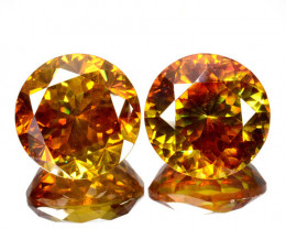 ~RARE~ 27.25 Cts Natural Sphalerite Sunset Orange Round PAIR Spain
