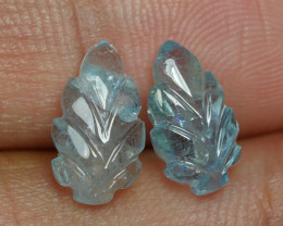 3.525CRT BEAUTY PAIR LEAF AQUAMARINE CARVING -