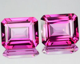 6.12 Cts Candy Pink Natural Topaz 9x7mm Emerald Cut 2 Pcs Brazil