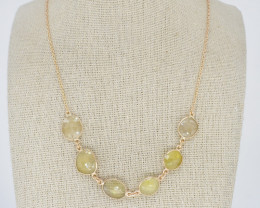 YELLOW NECKLACE NATURAL GEM 925 STERLING SILVER JN174