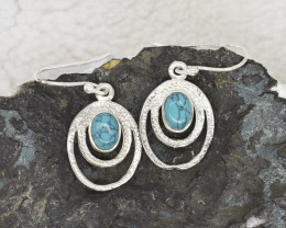 TURQUOISE EARRINGS 925 STERLING SILVER NATURAL GEMSTONE JE356