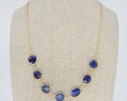 BLUE SAPPHIRE NECKLACE NATURAL GEM 925 STERLING SILVER JN173