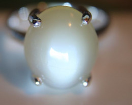 Moonstone 10.18ct Platinum Finish Solid 925 Sterling Silver Solitaire Ring