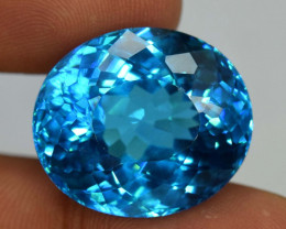 52.25 Carats Loupe Clean Electric Blue Color Swizz Topaz Loose Gemstone
