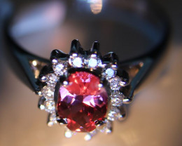 Red Mahenge Spinel 1.04ct Natural Diamonds Solid 18K White Gold Cluster Rin