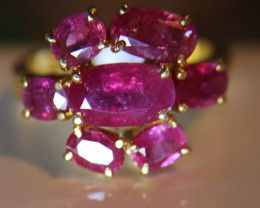 Tajik Ruby 5.68ct Solid 22K Yellow Gold Multistone Ring, Flower Shape, Natu