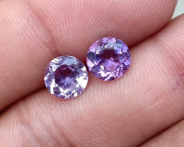 AMETHYST PAIR TOP QUALITY GENUINE GEMSTONES 7mm Round VA965