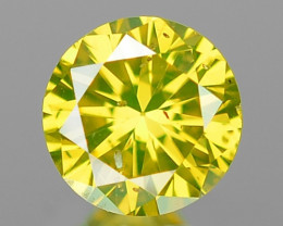 0.10 Cts Untreated Fancy Greenish Yellow Color Loose Diamond
