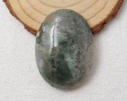 Natural Moss Agate Oval Cabochon,40x29x10mm,82.5ct F503