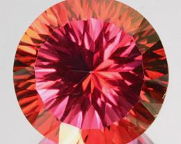 17.40 Cts Orange Pink Natural Topaz Round Concave Cut Brazil