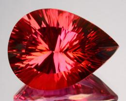 19.27 Cts Orange Pink Natural Topaz Pear Concave Cut Brazil