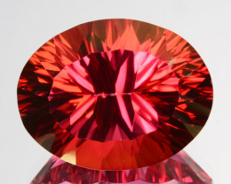 11.55 Cts Orange Pink Natural Topaz 15 X 12mm Oval Concave Cut Brazil