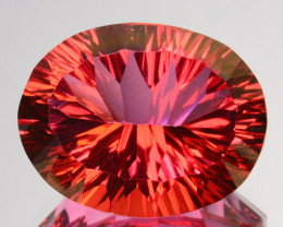 18.00 Cts Orange Pink Natural Topaz 18 X 14mm  Oval Concave Cut Brazil