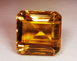 21.78 ct Top Quality Square Cut Golden Whisky Color Natural Citrine