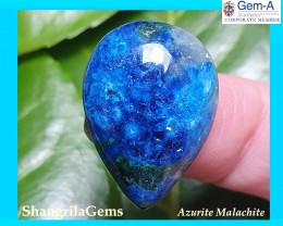 25mm 27ct Azurite chryosolla cabochon with dioptase, malachite and quartz