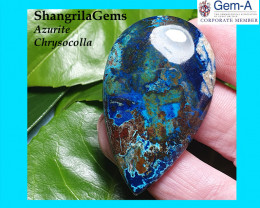 50mm 81ct Azurite chrysocolla cabochon with quartz and cuprite