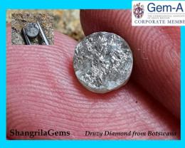 5.5mm 0.38ct Ivory grey Druzy Raw Diamond 5.5 by 1.2mm