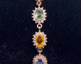 (5) Superb Natural 11.39Gram Multi-Color Sapphire Bracelet Heated Only