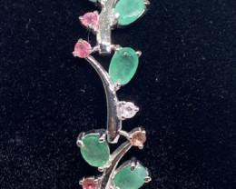 (6) Magnificant 15.64cw. Unheated Brazilian  Emerald Bracelet