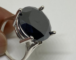 (21) Certified Dazzling 10.76ct Natural Fancy Black Diamond Ring