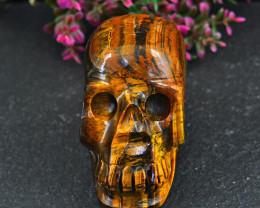 Genuine 806.00 Cts Golden Tiger Eye Carved Skull