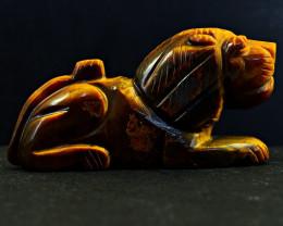 Genuine 953.00 Cts Golden Tiger Eye Carved Lion