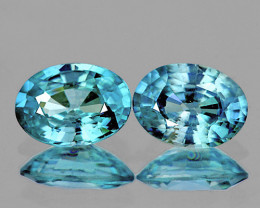7x5 mm Oval 2 pieces 2.80cts Blue Zircon [VVS]
