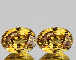8x6 mm Oval 2 pcs 5.11cts Golden Yellow Zircon [VVS]