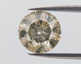 0.71 ct Round brilliant diamonds , Yellow Salt And Pepper Natural Diamond