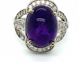 Amethyst 8.42ct Platinum Finish Solid 925 Sterling Silver Ring   Size 8