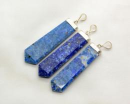 250 Ct Gorgeous Lapis Lazuli Pendants@Afghanistan 3Pcs