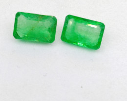 1.07cts Vivid Neon Green Colombian   Emerald Pair , 100% Natural Gemstone
