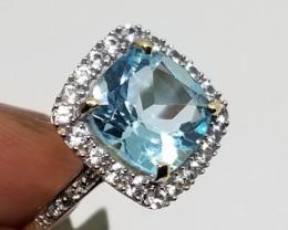 $1350 Nat. 4.36 ct Blue Topaz Ring 10K YG 2.87gr