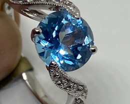 (6) Beautiful  Nat. 2.58cts Blue Topaz Ring 10K W Gold
