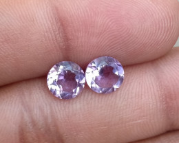 AMETHYST PAIR TOP QUALITY GENUINE GEMSTONES 7mm Round VA1159