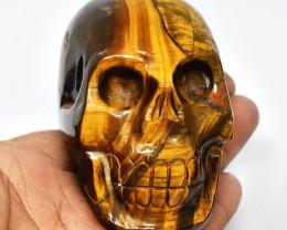 Genuine 1363.00 Cts Golden Tiger Eye Skull