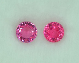 1.07 Cts Stunning Lustrous Vivid Pink Spinel Round Pair