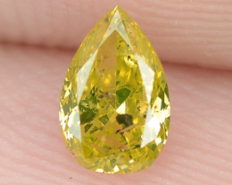 0.31  Cts Untreated Natural Fancy Yellowish Green Color Loose Diamond