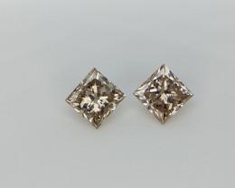 0.27 cts , 2 pcs Princess brilliant Cut Diamonds , Light champagne color