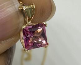 (K) Stunning  Nat 1.63cw. Nat Pink Sapphire Pendant 14k Y Gold