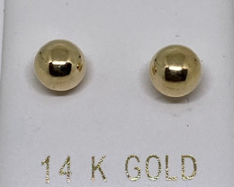 (L) Marvelous Nat 6mm Gold Stud Earrings14k Y Gold
