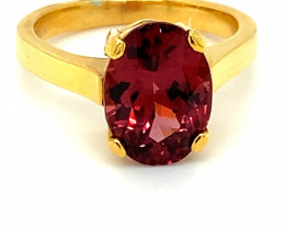Umbalite Garnet 4.57ct Solid 18K Yellow Gold Solitaire Ring     Size 6.75