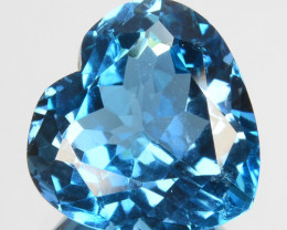 4.42 Cts Natural London Blue Topaz 10mm Heart Cut Brazil