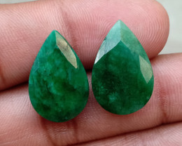 EMERALD PEAR CUT PAIR GENUINE NATURAL GEMSTONE VA1162
