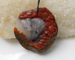 154.65cts Natural Warring Agate Carved Rabbit Pendant Bead F563
