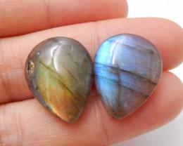 21.5cts Natural Labradorite Cabochon Pairs , Labradorite Stones Loose Gemst