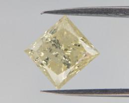 0.98 cts, Princess Cut diamond , Yellow Princess Cut Diamond