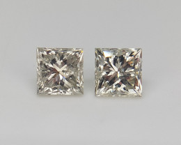 0.46 cts ,Pair Diamonds ,  Fancy Grey Princess Cut Diamond